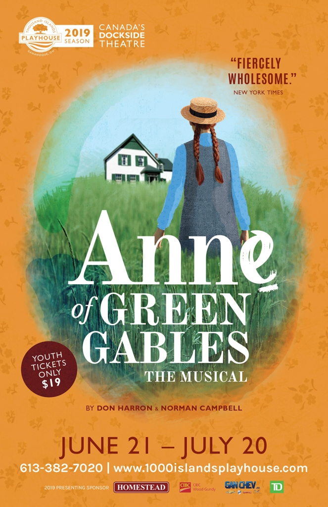 Poster for a theatre show called Anne of Green Gables showing a young girl with red hair facing a white and green house
