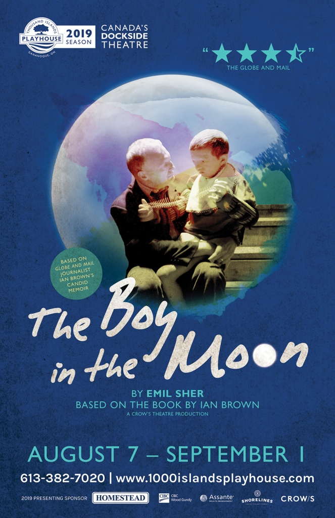 Poster for a theatre show called The Boy in the Moon showing a father holding his disabled son