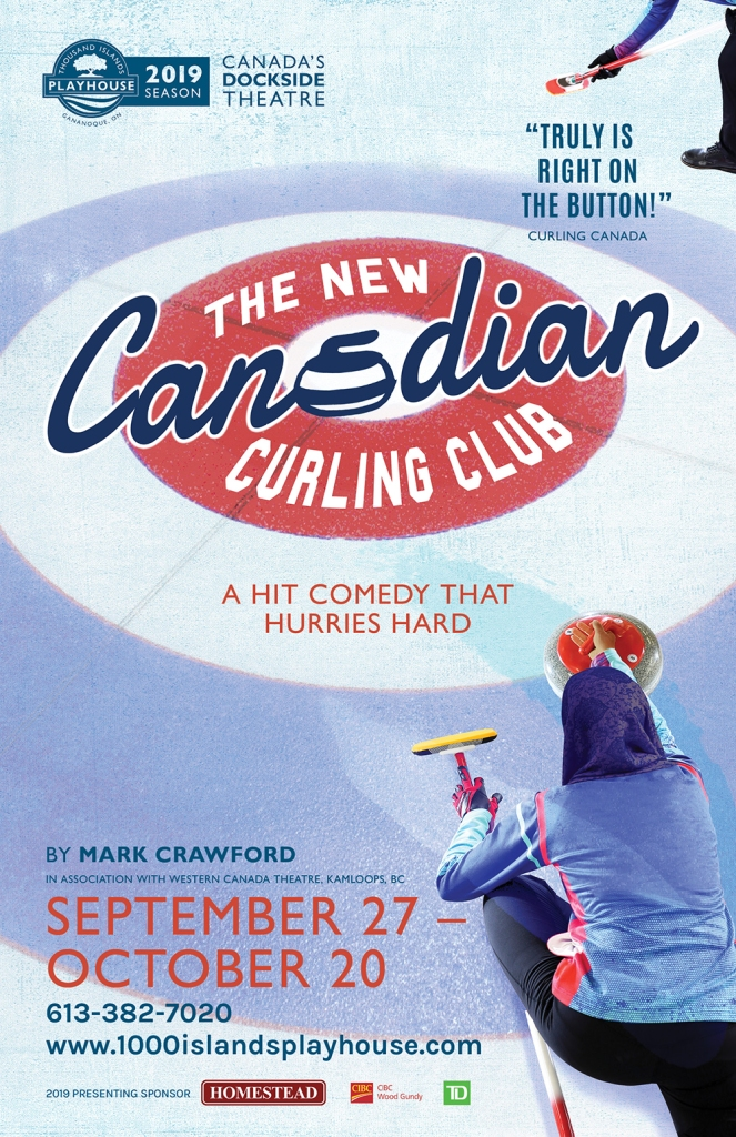 Poster for a theatre show called The New Canadian Curling Club with two people curling on ice
