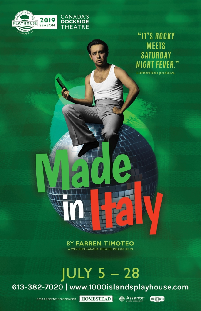 Poster for a theatre show called Made in Italy showing a young man holding a comb and sitting on a disco ball