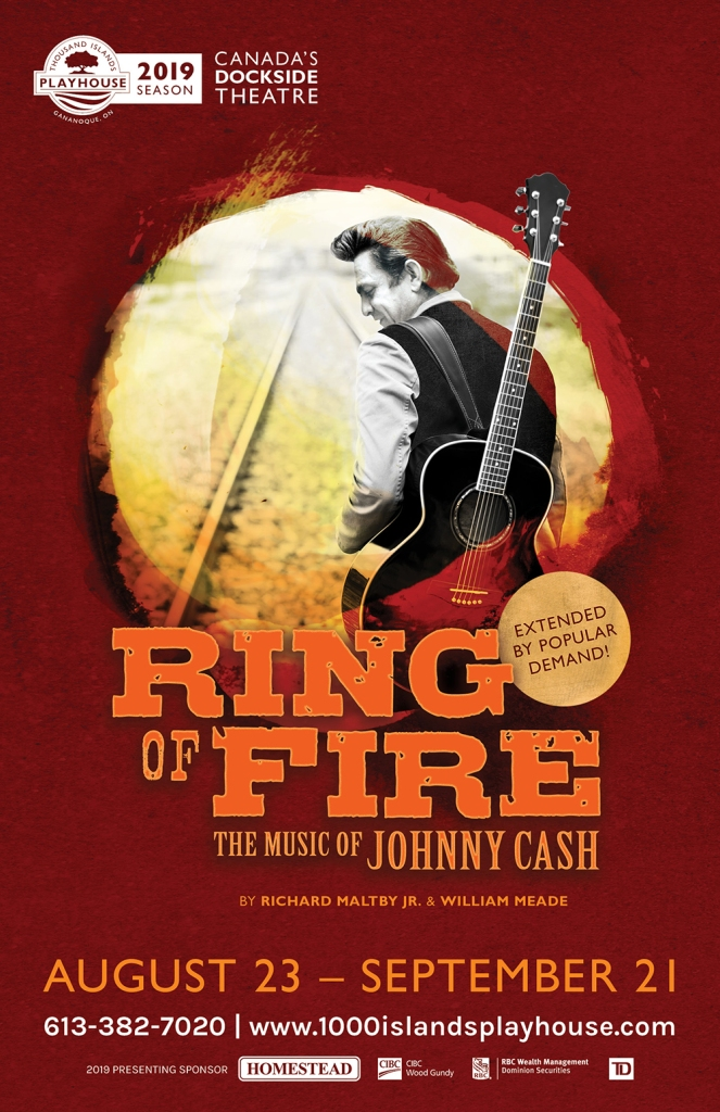 Poster for a theatre show called Ring of Fire showing Johnny Cash with a guitar over his shoulder