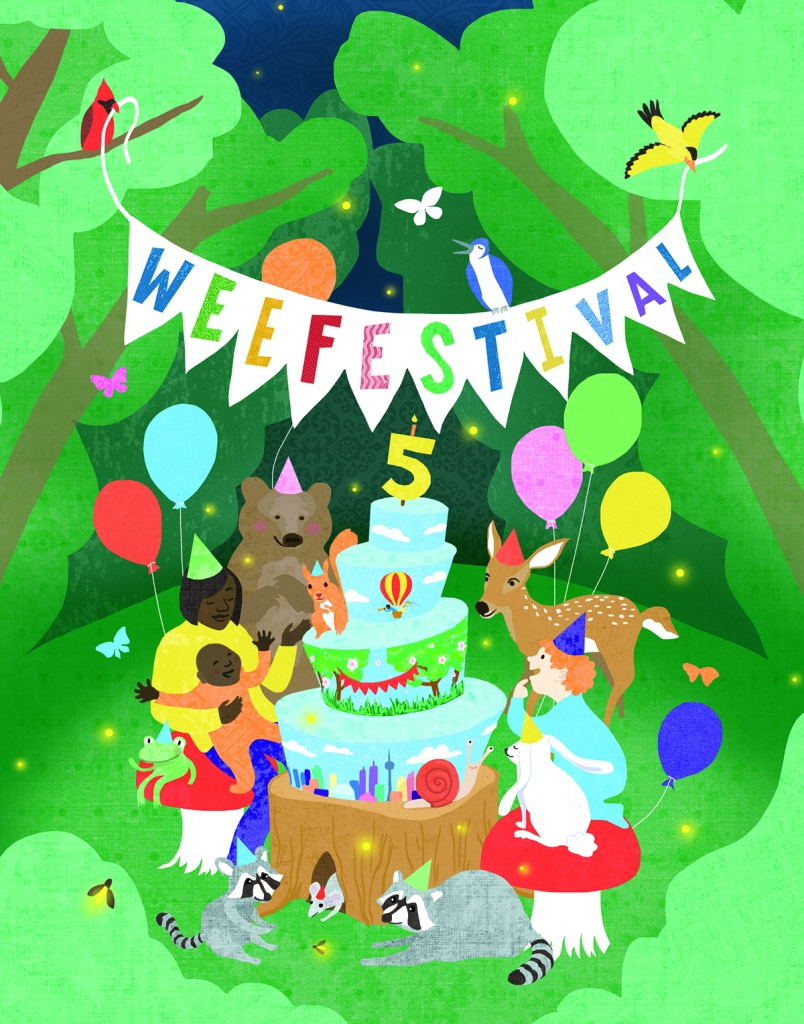 Poster image for WeeFestival 2020, animals and young children surround a birthday cake in the forest